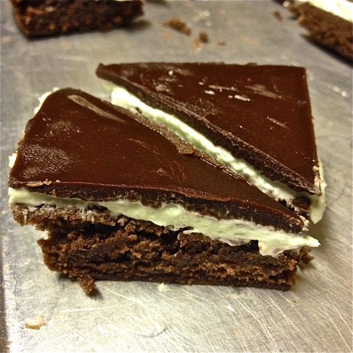Thin Mint Brownies - Triangles